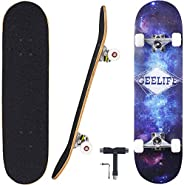 "Geelife Skateboard 7 Layers Decks 31""x8"" Pro Complete Skate Board Maple Wood Longboards for Teens Ad"