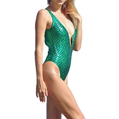 RISTHY Sexy Mujer Top Bikini Push Up Sirena Trajes de Baño ...
