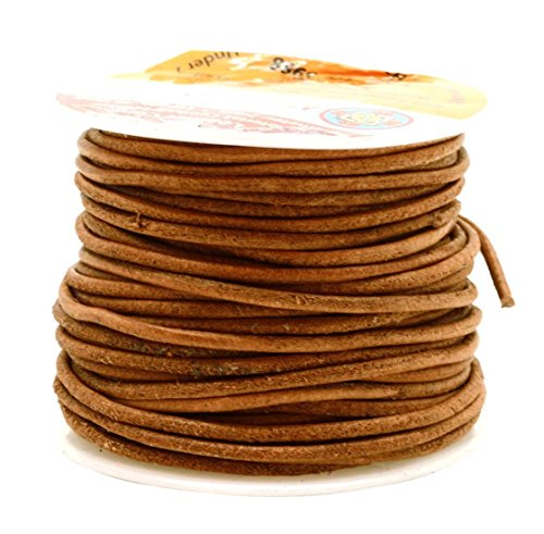 Mandala Crafts Round Cowhide Genuine Leather String Cord, Natural Rawhide Rope for Jewelry Making, Kumihimo Braiding, Shoelaces (2mm, Rust) (Cord Leather Natural)