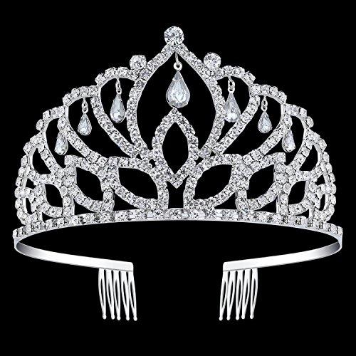 BABEYOND Crystal Queen Tiara Crown Rhinestones Pageant Quinceanera Crown Prom Princess Tiara Crown Bridal Wedding Crown Tiara (Pageant Set)
