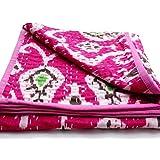 Virasat Exports- Kantha Baby Quilt Indian Handmade Bedding Throw Baby Blanket Cotton Multi Ikat Pink