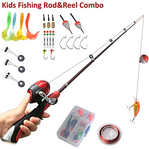Kids fishing pole beginner 39 s starter fishing kit christmas for Best fishing pole for beginners