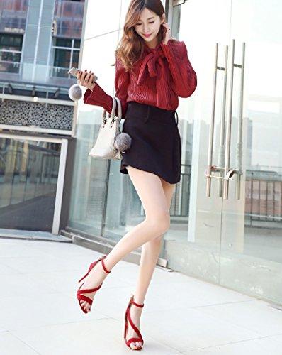 Pointure Lanière Sandales Rouge Haute Haut Boucle Chaussures Escarpins Talon Talon Large Escarpins Minetom Femme Pointu BzUqwBpX
