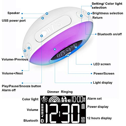 Wake Up Light Alarm Clock, Uplayteck Bluetooth Speaker Table Lamp Kids Alarm Clock for Bedroom, Tap/ Knock to Change Color Lights, Night Light Music Player for Party, Camping, Birthday Gift