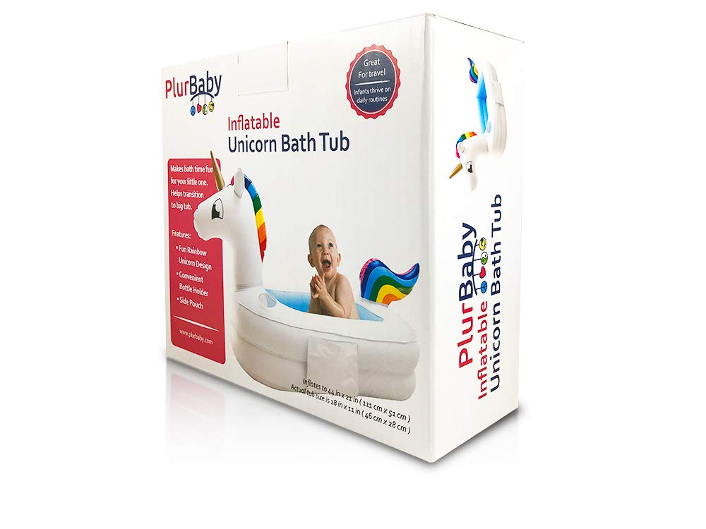 Plur Baby Inflatable Bath Tub and Portable Wash,Rainbow Unicorn for Infants 6-24 Months, Inflatable Buffet Cooler, Floating Ice Chest, Baby Shower Gift and Decoration 7