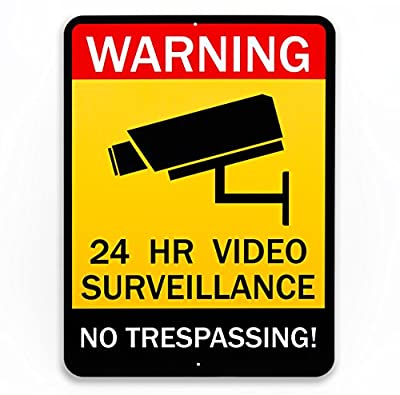 Superior Security Video Surveillance Sign - Rust-free Home Business 24 Hours Security, No Trespassing Security Sign from Black Label Signs