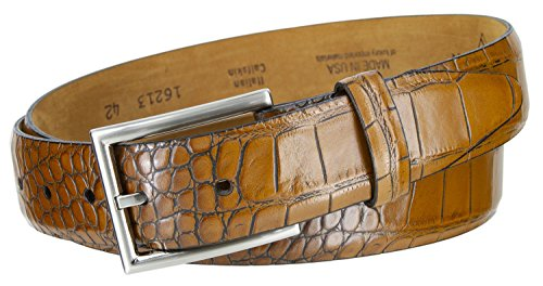 Lejon 16213 Men's Alligator Embossed Italian Calfskin Leather Belt MADE IN USA