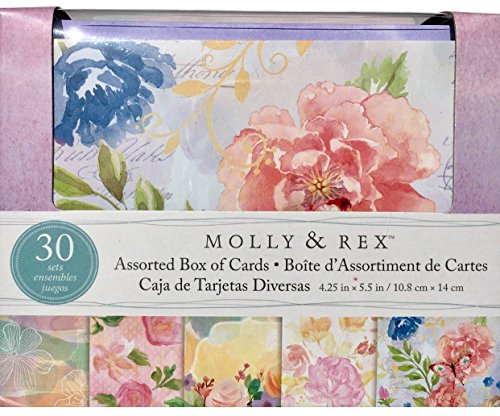 Molly & Rex Assorted Box of 30 Cards and Envelopes - 74241 Lavender Pink Florals