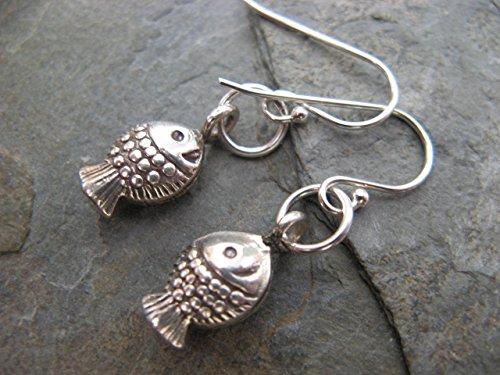 Sterling Silver Happy Fish Earrings Artisan Jewelry