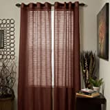 Cheap Bedford Home Mia Jacquard Grommet Single Curtain Panel, 84-Inch, Brown