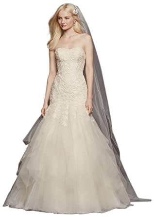 David\'s Bridal Petite Strapless Tulle Wedding Dress Style 7CWG737 at ...