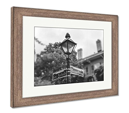 Ashley Framed Prints Bourbon Street New Orleans Ancient Street Lamp and Pointer, Wall Art Home Decoration, Black/White, 34x40 (Frame Size), Rustic Barn Wood Frame, ()