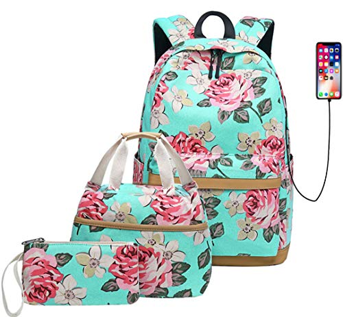 KaixinRoom 3 Pcs Backpack Set Teen Girls Floral Print School Bags USB Laptop Daypack Portable Lunch Bags Purse (Green)