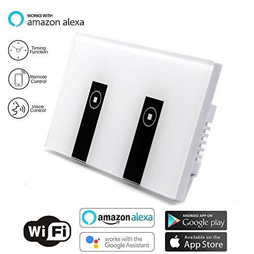 Smart Switch OMAGAX WIFI Smart Wall Light Switch Wireless in Wall Switch Glass Touch Panel Plate Work with Alexa Echo Google Home Remote Control Lights by Android IOS APP Timing Function 2 Way 1 Gang