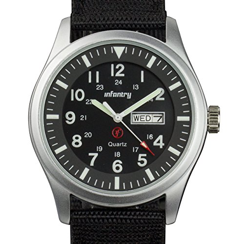 Watch Day Date Quartz (INFANTRY Mens Military Army Analog Watch Field Sport Wrist Watches for Men Nylon Strap Day & Date)