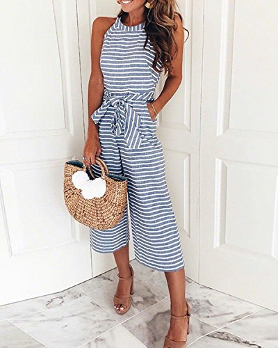 AELSON Women Sleeveless Striped Jumpsuits Waist Belted Wide Leg Pants Romper with Pockets by AELSON (Image #2)