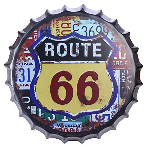 (Haoun Beer Bottle Cap Sign,Dia 13.77 Inch Metal Retro Wall Decoration for Bar Home Cafe Bar - Route 66)