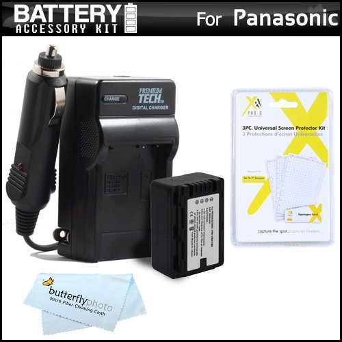 (Battery And Charger Kit For Panasonic HC-V700, HC-V700M, HC-V500, HC-V500M, HC-V100, HC-V100M, HC-V10 Camcorder Includes Extended Replacement (2000Mah) VW-VBK180 Battery + Ac/Dc Travel Charger + MicroFiber Cloth + More)