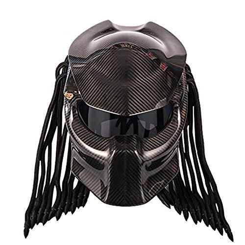 Motorcycle Carbon Fiber Helmet, Full Face Helmet Black Lens Anti-Fog Helmet Four Season Men and Women Helmet, DOT Safety Certified ()