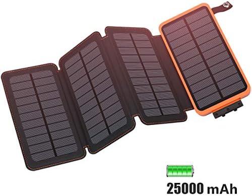 FEELLE Cargador Solar 25000mAh Batería Externa, Portátil Power Bank con 2 Puertos de USB (5V/2.1A*2) Cargador de Teléfono para iPhone, Android, ...