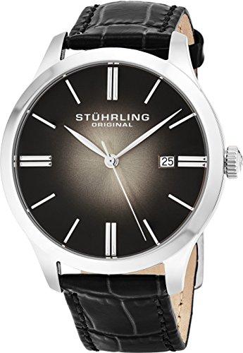 Gents Designer Watches (Stuhrling Original Classic Cuvette II Mens Black Watch - Swiss Quartz Analog Date Wrist Watch for Men - Stainless Steel Mens Designer Watch with Black Leather Strap 490.33151)