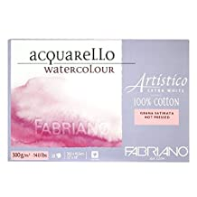 """Fabriano Artistico Extra White Watercolor Block Hot-Press 12"""" x 18"""" 300gsm, 20 Shts/Pkg"""