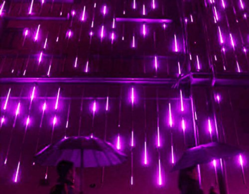 Halloween Lights - YSIM Meteor Shower Rain Lights,Ultra Bright Romantic Lights for Party, Wedding, Christmas, etc.11.8inch 8 Tubes(Purple)