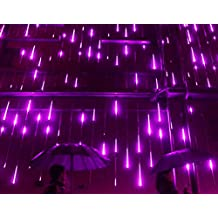YSIM Meteor Shower Rain Lights,Ultra Bright Romantic Lights for Party, Wedding, Christmas, etc.11.8inch 8 Tubes (Purple)