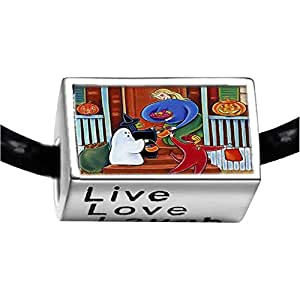 Chicforest Silver Plated Happy Hallowmas Photo Live Love Laugh Charm Beads Fits Pandora Charms