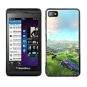 Design for Girls Plastic Cover Case FOR Blackberry Z10 Landscape View Mountain Horse Riding Art OBBA