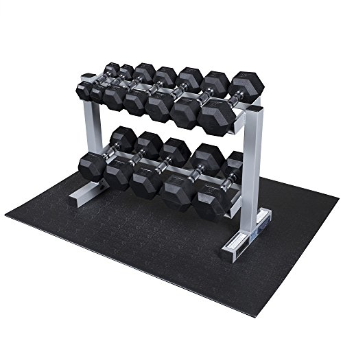 Body Solid Dumbell Rack with 5-50LB Rubber Hex Dumbell Set - (GDR363WSDRS550)