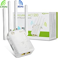 Qoosea WiFi Extender Repeater / Access Point / Router AC1200 Dual Band Wireless Signal Range Booster with 4 External 3dBi Antennas Compatible with Smart Home & Alexa Devices (White)