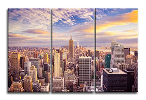 """Niwo Art (TM) - New York Cityscape Picture On Canvas - Giclee Wall Art for Home Decor, Gallery Wrapped, Stretched and Framed Ready to Hang (30""""x16""""x1.5"""", 3pcs)"""