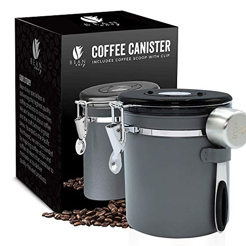 Bean Envy Airtight Coffee Canister - 16oz - Sealed Cantilever Lid with Co2 Gas Release Wicovalve & Numerical Day/Month Tracker - Stainless Steel Storage Vault for Whole/Ground Coffee Bean - Gray