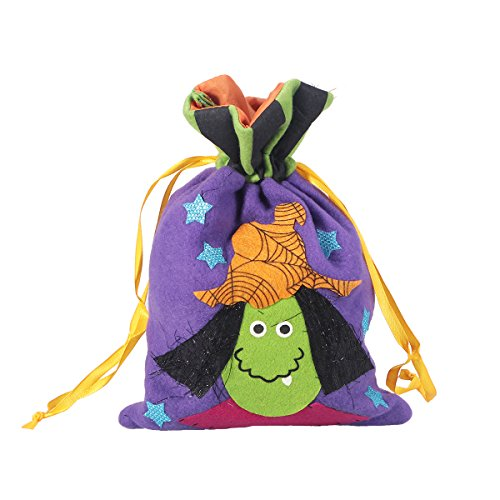 BESTOYARD Halloween Witch Drawstring Gift Treat Bag Trick Or Treat Candy Bag For Kids Snack Goodie Bag Handbag Pocket Holder For Halloween Cosplay Costumes Decor Party Favors