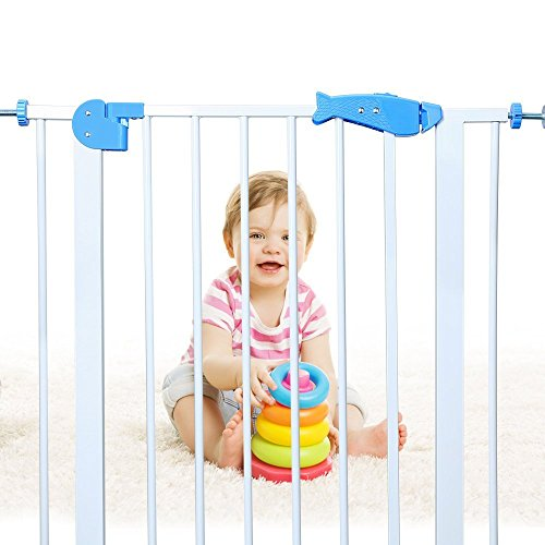 Baby Gates for Stairs, Extra Wide Pressure Mounted Safety Gates, Fits Spaces Between 29.9″ to 33.8″ Wide