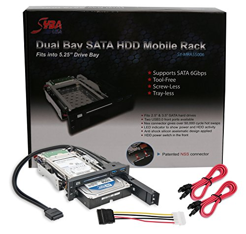Syba SY-MRA55006 5.25'' Bay Tray Less Mobile Rack for 3.5'' and 2.5'' Sata III HDD with Extra 2 Port USB 3.0, Black/White by Syba (Image #5)