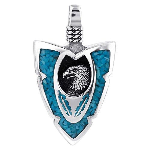 Eagle Gemstone - Gem Avenue 925 Sterling Silver Arrowhead Turquoise Gemstone Chip Inlay Southwestern Style Eagle Pendant