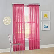 """No. 918 Calypso Sheer Voile Rod Pocket Curtain Panel, 59"""" x 63"""", Pink, 1 Panel"""
