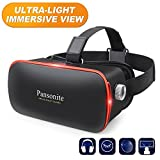 Pansonite 3D VR Glasses Virtual Reality Headset for Games & 3D Movies, Lightweight with Adjustable Pupil and Object Distance for iOS and Android Smartphone (Silver)