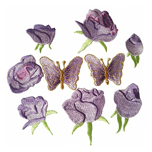 (9pcs Purple Small Rose flower butterfly embroidery Iron On Patches(different dize) (Violet))