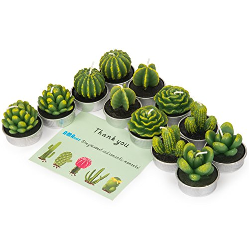 AMASKY Cactus Tealight Candles, Handmade Delicate Succulent Cactus Candles for Valentine's Day Birthday Party Wedding Spa Home Decoration (12 Packs) ()