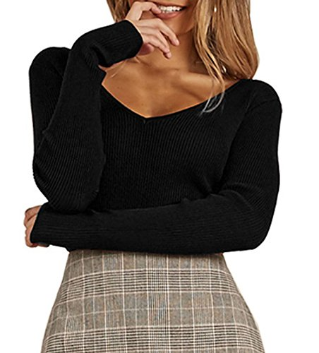 Tops Dos Tricots Sexy Slim Automne Printemps Femmes Chandail Nu Mode Pullover Bandage V Col Hauts Jumper Blouse UX1aBqxw
