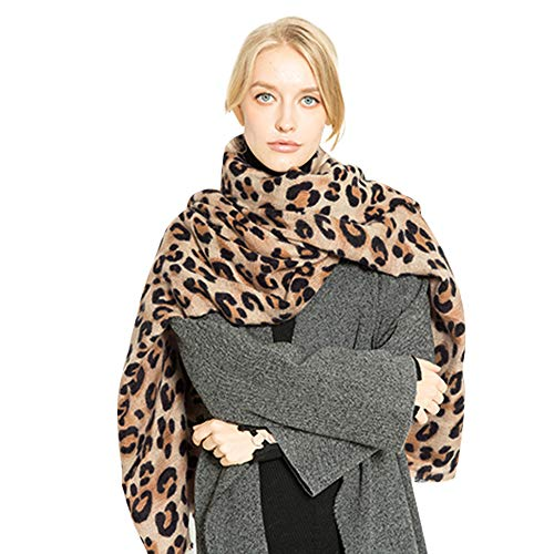 Women Winter Warm Neck Scarf GREFER Fashion Leopard Printed Wool Blend Soft Long Shawl ()