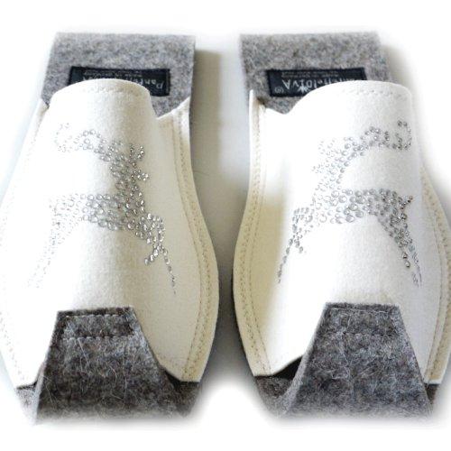 Einheitsgröße Pantofole Glamour Pantoffeldiva Donna Bianco Hirsch qAO4xY