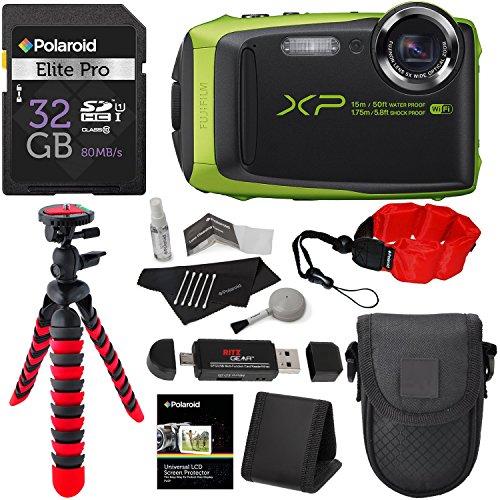 Fujifilm FinePix XP90 Waterproof digital camera (Green), 32GB Class 10, Memory Card Reader, 12