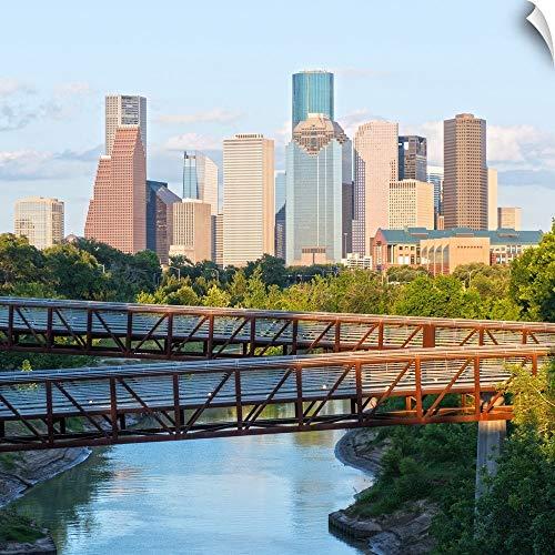 "CANVAS ON DEMAND Circle Capture Wall Peel Wall Art Print Entitled Houston TX Skyline - Rosemont Pedestrian Bridge - Buffalo Bayou 20""x20"""