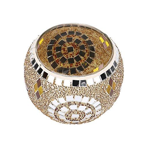 SamMoSon Candles Holders Decor, Handmade Mosaic Glass Candlestick Wedding Wedding Ornaments That Props Gifts Golden