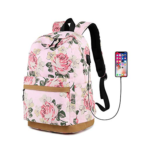 Flowers Print High University School Backpacks for Women & Teen Girls, Casual College Book Bag Laptop Backpack Daypack for Travel School (Pink-Flower)