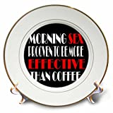 3dRose RinaPiro Sex Sayings - Morning sex proven to be more effective than coffee. - 8 inch Porcelain Plate (cp_272735_1)